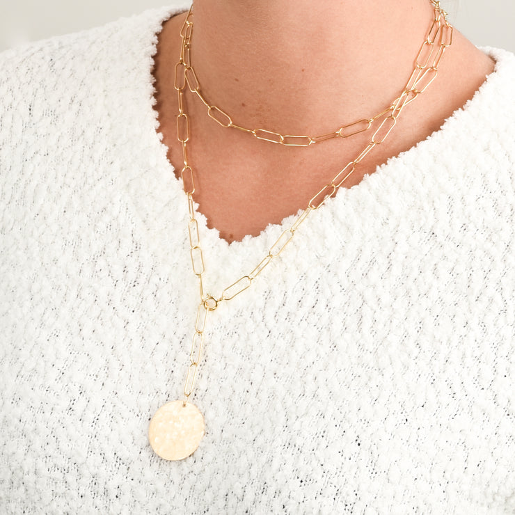 Goldfill Extra Large Paper Clip Wrap Lariat Disc Necklace