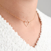 Hand Shaped Heart & Goldfill Necklace