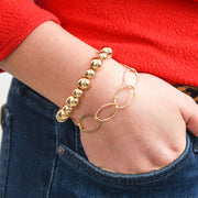 Goldfill Oval Chain & Beaded Bracelet Set