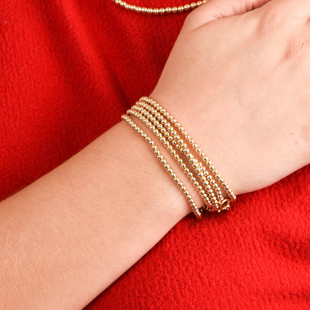 3mm 14k Goldfill Multi-Wrap Beaded Bracelet
