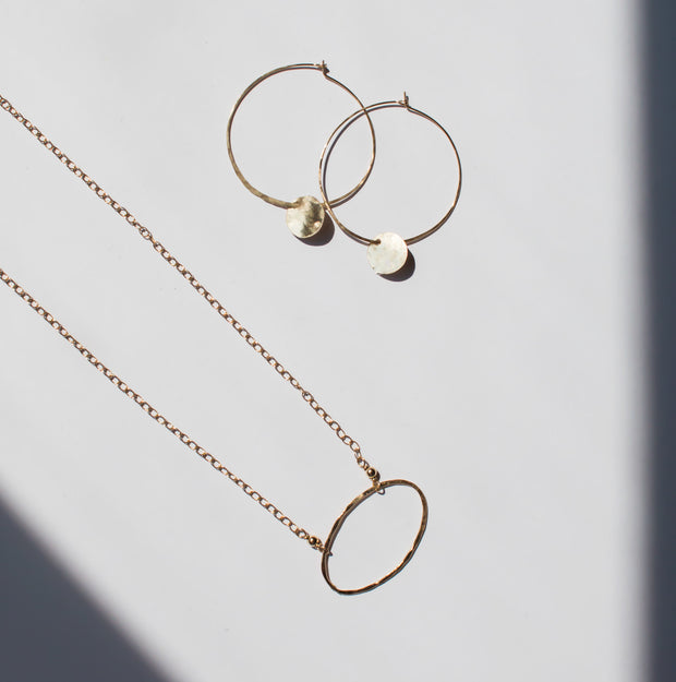 Hand Hammered Hoops & Goldfill Drops
