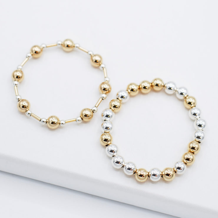 Mixed Metal Tube & Beaded Lux Bracelet Set