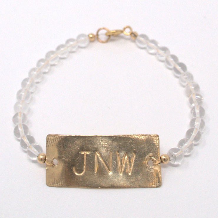 Crystal Quartz & Goldfill Monogram Bracelet