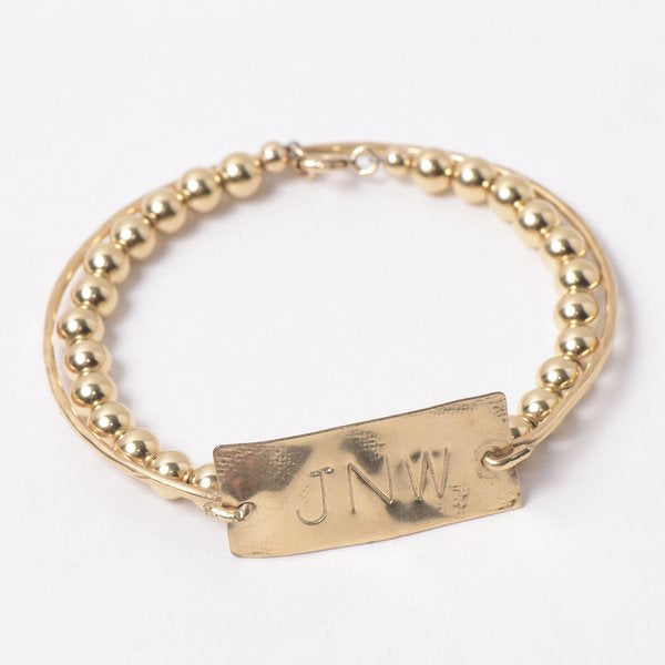 Monogram Hand Shaped Goldfill Bangle