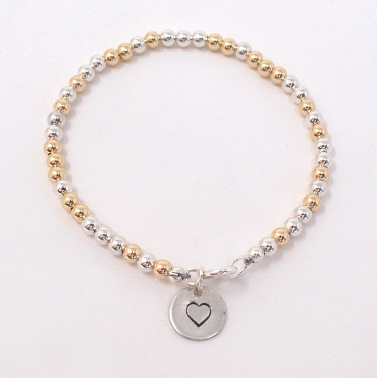 Mixed Metal Personalized Heart Bracelet