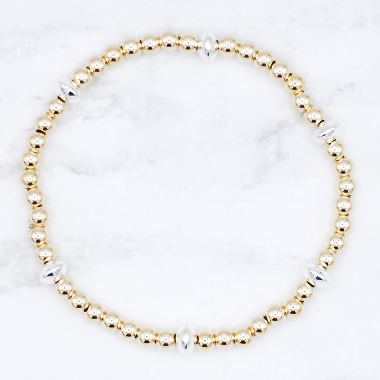 4mm Goldfill & Sterling Silver Saucer Bracelet