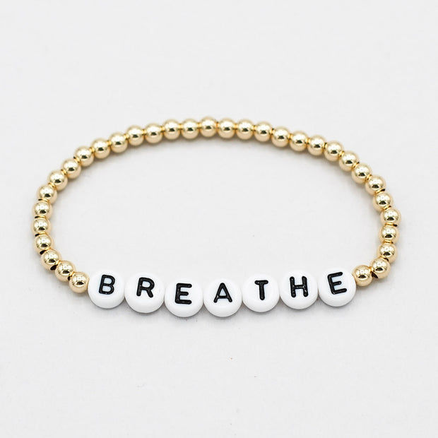 Mantra 'Breathe' 4mm 14k Goldfill Bracelet