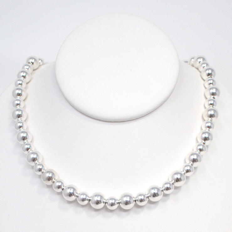 6mm & 8mm Sterling Silver Beaded Necklace