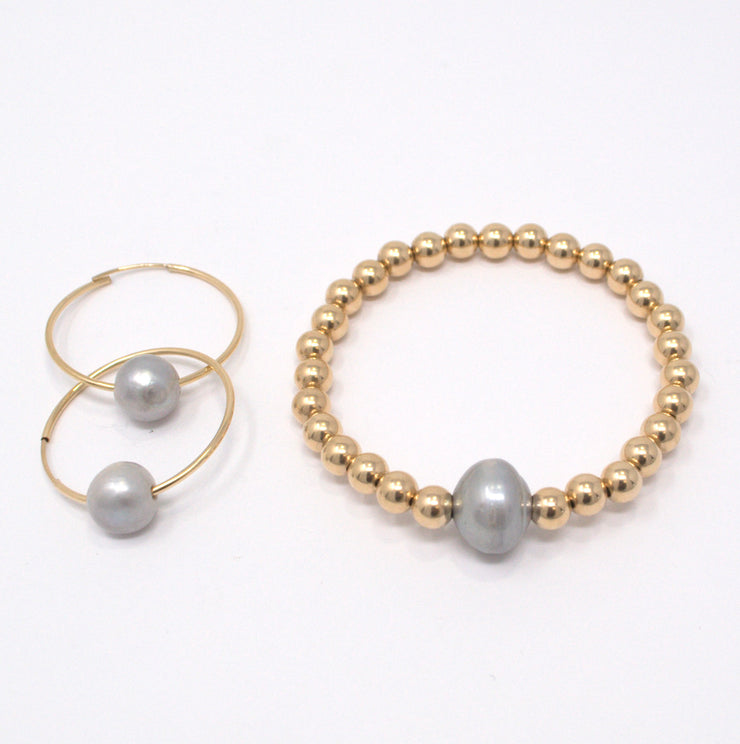 Goldfill and Freshwater Pearl Bracelet & Hoop Set
