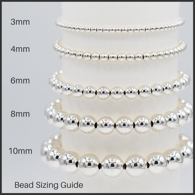 6mm & 8mm Sterling Silver Beaded Bracelet