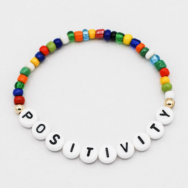 Mantra 'Positivity'  Multicolor African Trade Bead Bracelet