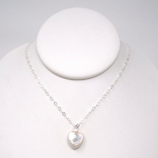 Sterling Silver & Freshwater Pearl Heart Necklace