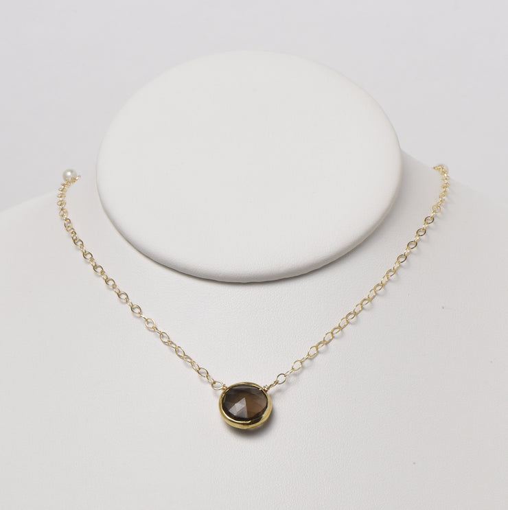 Smoky Quartz & Goldfill Necklace