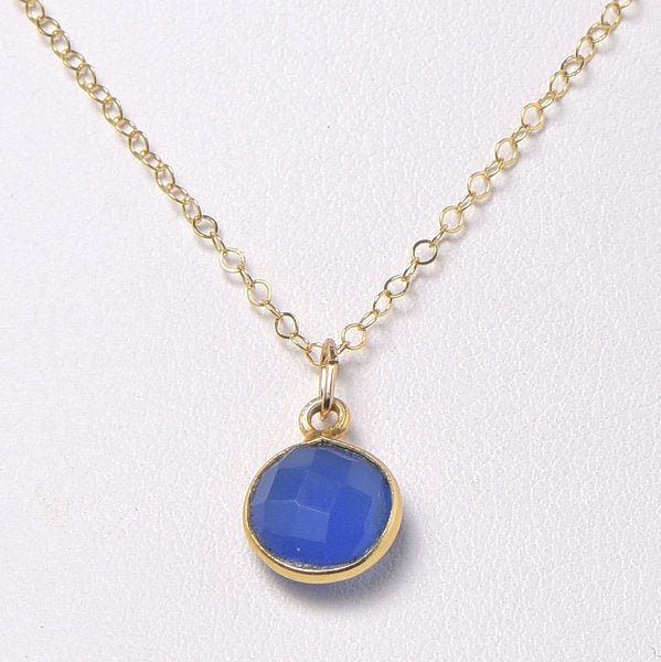 Bright Blue Chalcedony & Goldfill Necklace