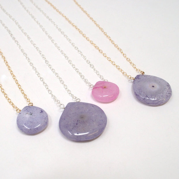 Purple Chalcedony & Goldfill Necklace