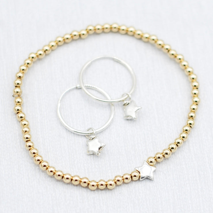 Star Mixed Metal Bracelet & Hoop Earring Set