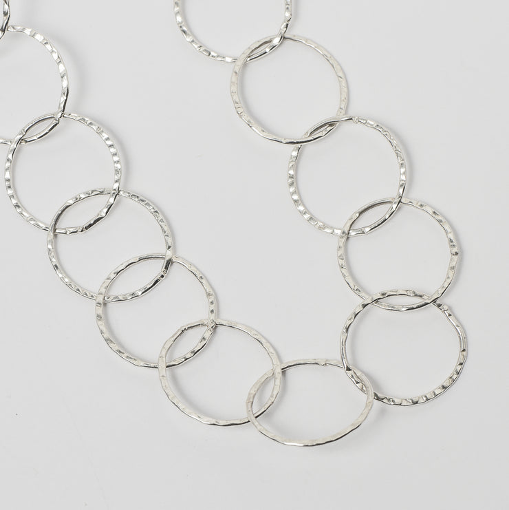 17mm Sterling Silver 16-30 Inch Hammered Chain