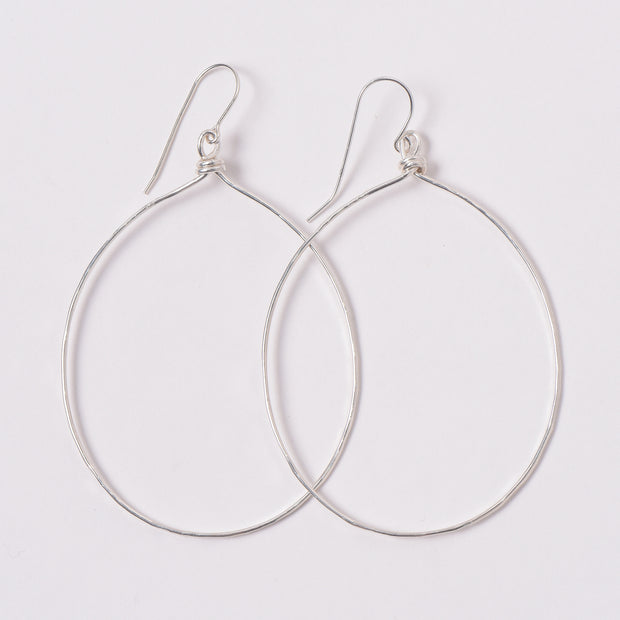 XL Sterling Silver Hand Shaped Earrings