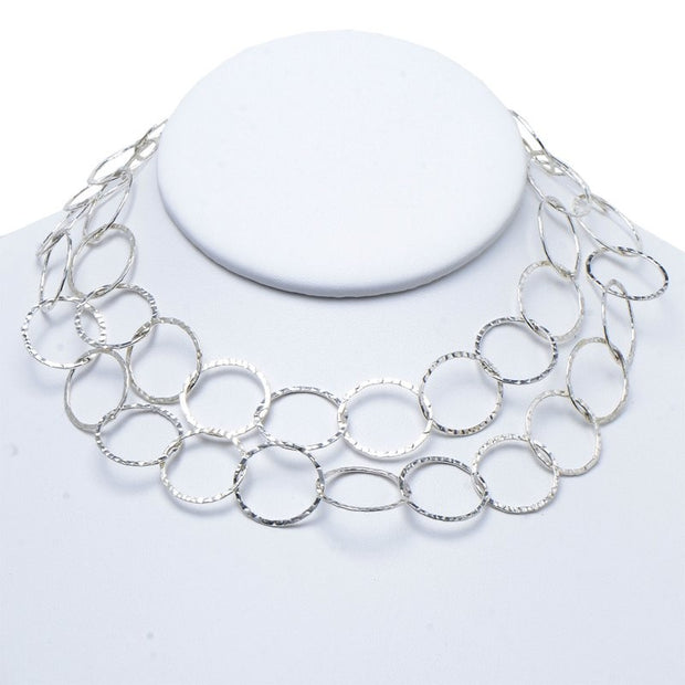 17mm Sterling Silver Hammered Long Chain