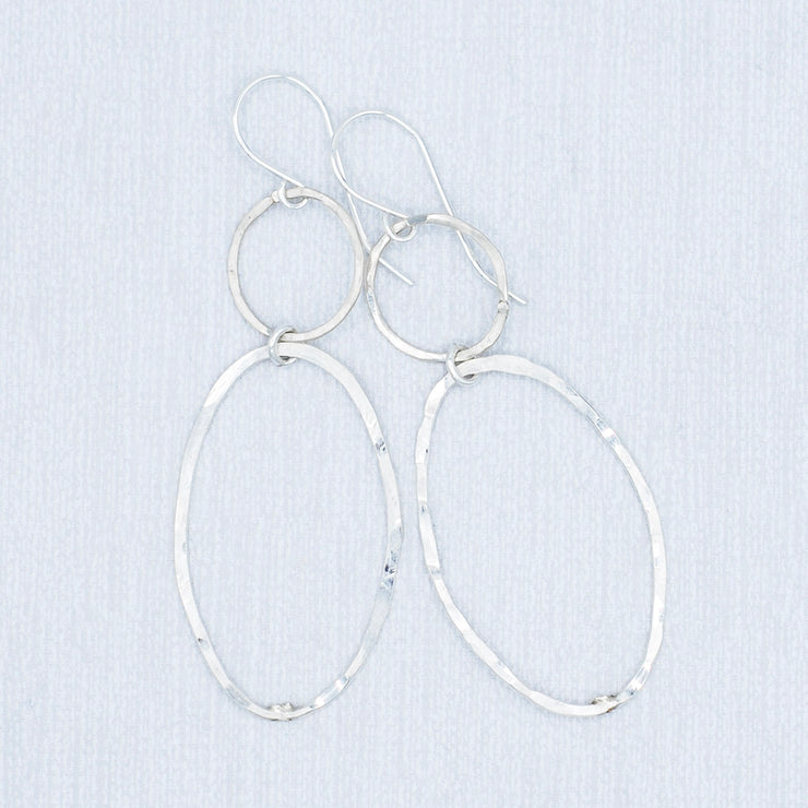 Sterling Silver Hammered Link Earrings