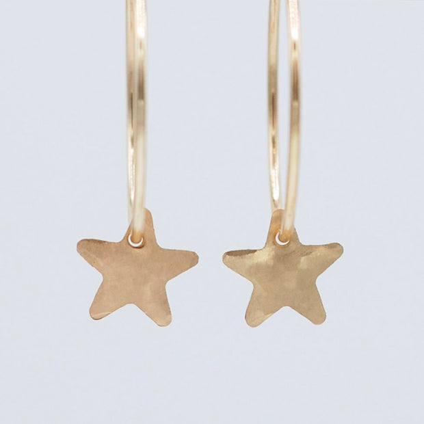 Goldfill Hammered Star Hoop Drops