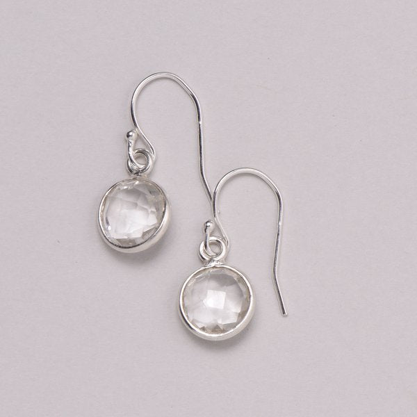 Faceted Crystal Quartz Earrings