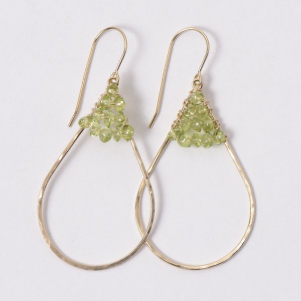 Wire Wrapped Peridot Earrings