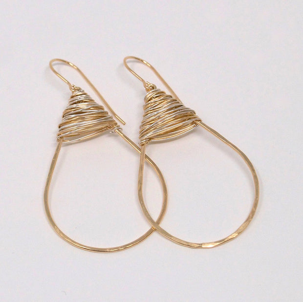 Goldfill & Sterling Silver Wire Wrapped Earrings