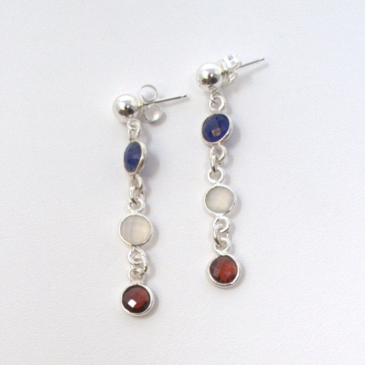 Garnet Moonstone & Sapphire Earrings