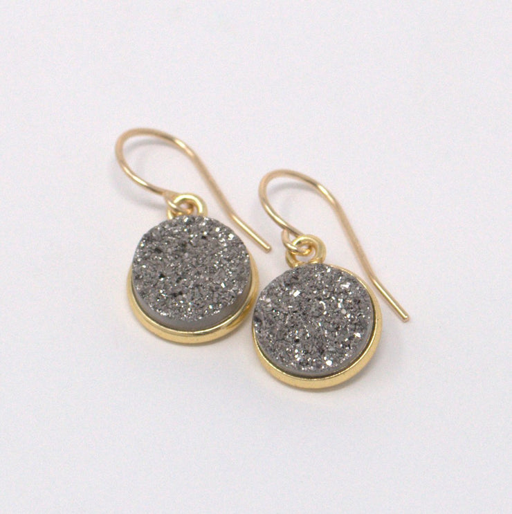 Dark Gray Druzy & Goldfill Earrings