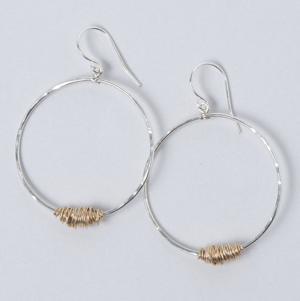 Sterling Silver & Goldfill Wire Wrapped Earrings
