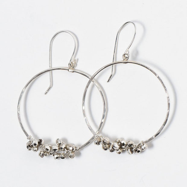 Wire Wrapped Silver Pyrite Earrings