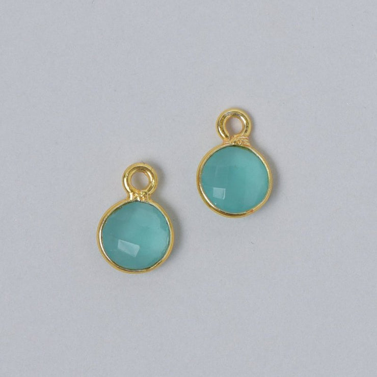 Blue-Green Chalcedony Hoop Drops