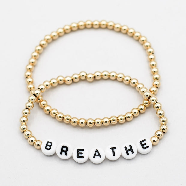 Mantra 'Breathe' 4mm 14k Goldfill Bracelet Set