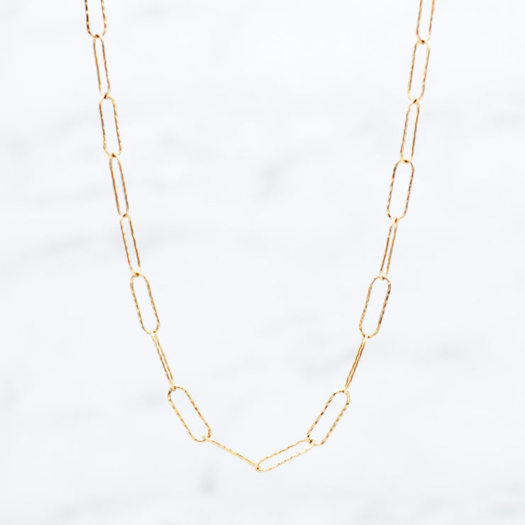 Goldfill Extra Large Hammered Paper Clip Layering Chain
