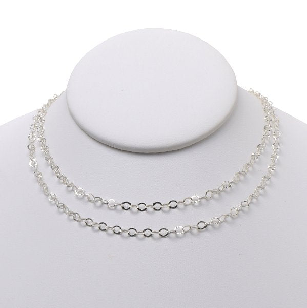 3mm Sterling Silver Hammered Long Chain