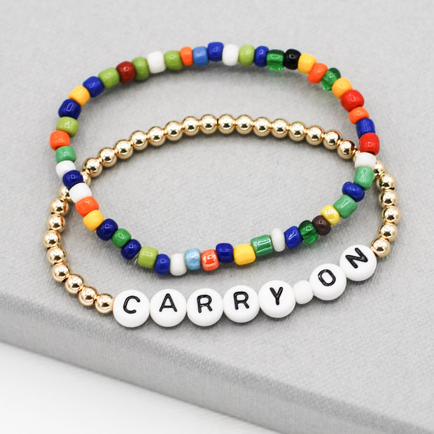 Mantra 'Carry On' Goldfill & Multicolor Bracelet Set