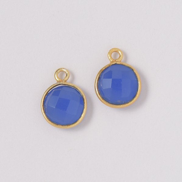 Bright Blue Chalcedony Hoop Drops