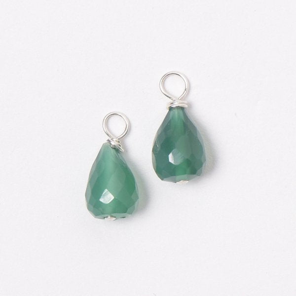 Green Onyx Hoop Drops