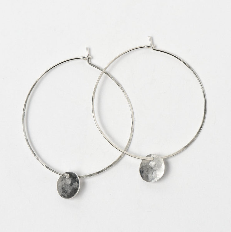 Hand Hammered Hoops & Silver Drops
