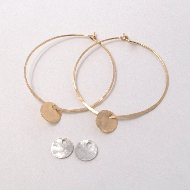 Hammered Hoop Earring & Drop Set