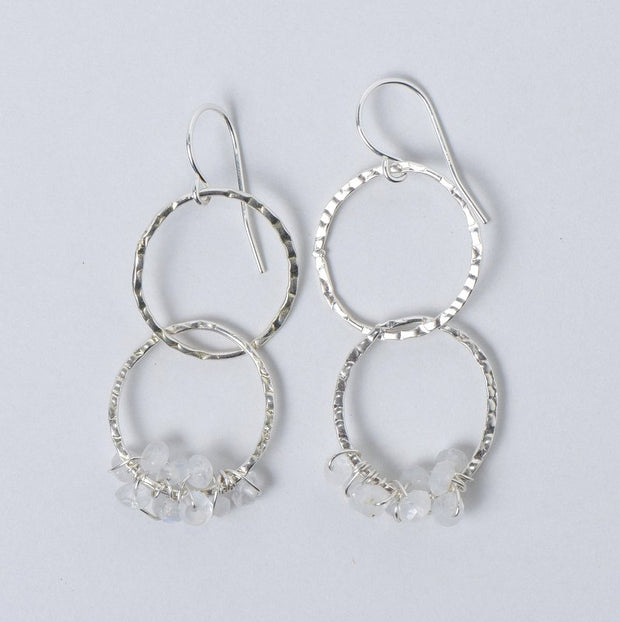 Moonstone Hammered Link Earrings