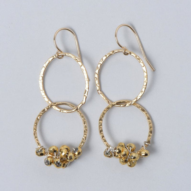 Goldfill Pyrite Hammered Link Earrings