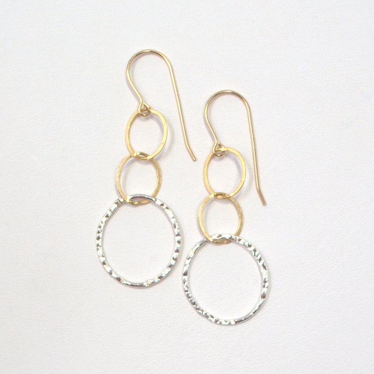 Goldfill & Sterling Silver Hammered Link Earrings