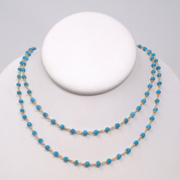 Turquoise & Vermeil Handwired Wrapped Necklace