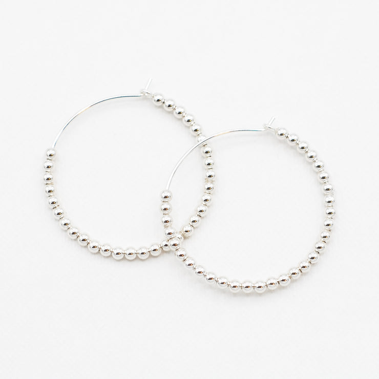 Medium Sterling Silver 2.5mm Beaded Hoops