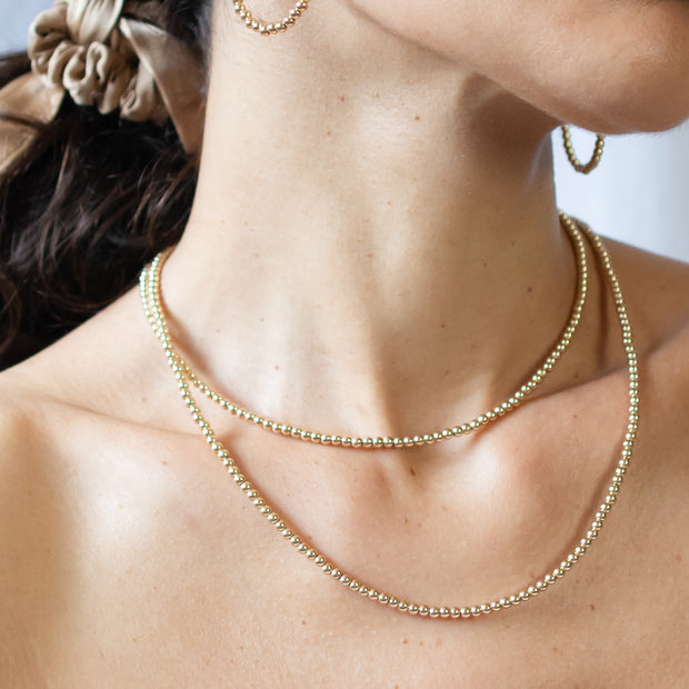 3mm 14k Goldfill Beaded Wrap Necklace