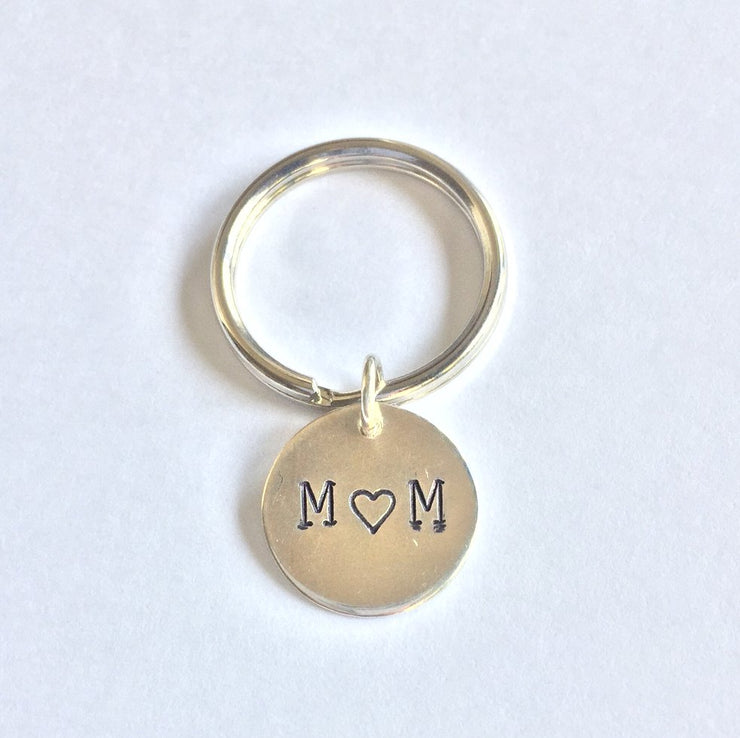 Personalized Sterling Silver Mom Keychain