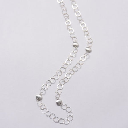 Brushed Sterling Silver Coin Necklace