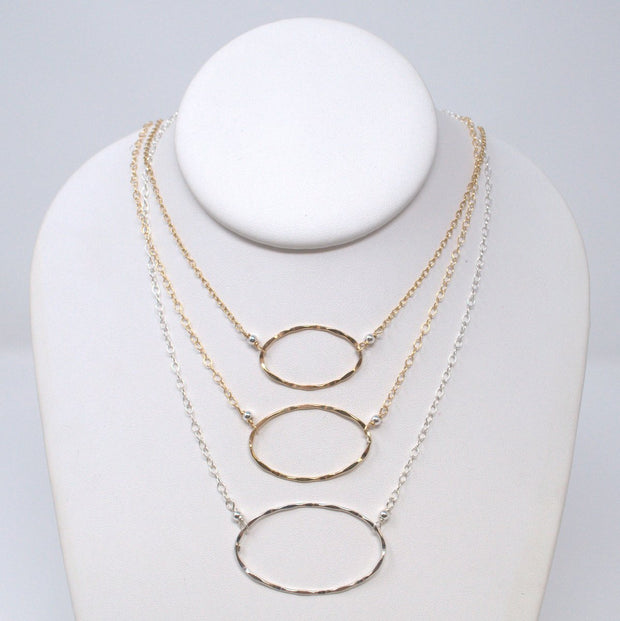 Goldfill & Sterling Silver Oval Necklace